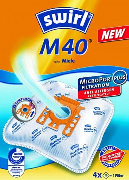 4 Microfaser Staubsaugerbeutel - Swirl - M 40