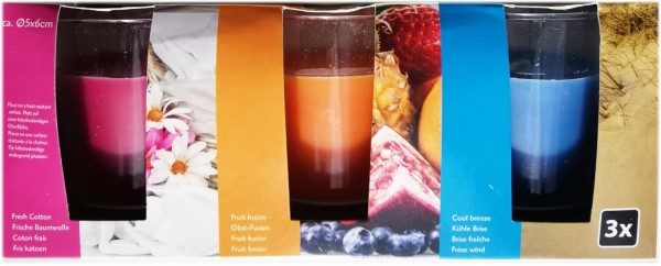 Duftkerzen im Glas 5 x 6 cm 3er Set