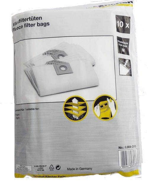 10 Original Staubsaugerbeutel 6.904-315  für Kärcher T 12//1 Eco!Efficiency
