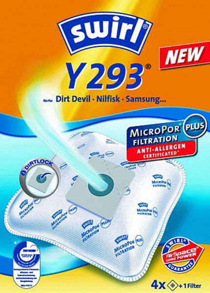 4 Microfaser Staubsaugerbeutel - Swirl - Y 293