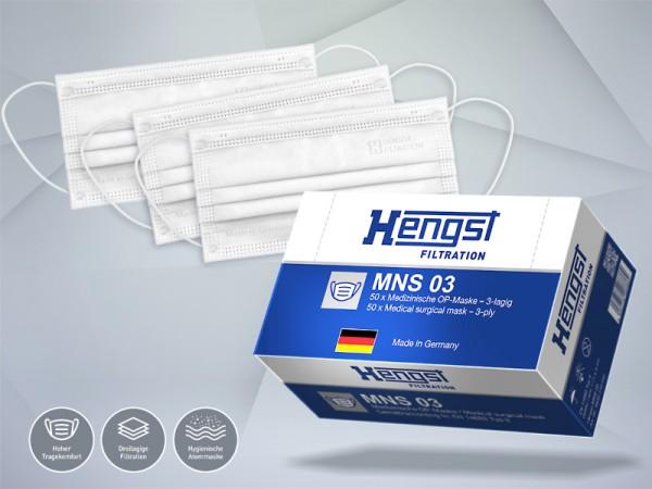 50 Stück Medizinische Gesichtsmaske - Mund-Nasen-Schutz - hergestellt in Deutschland - Hengst MNS 03