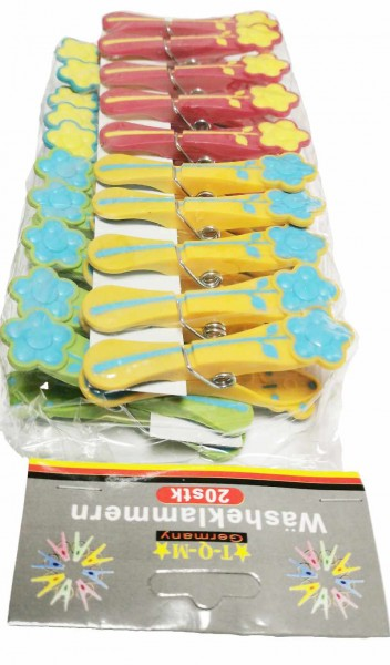 20 Wäscheklammern mit Blumenmotiv aus Kunststoff Länge ca. 80mm