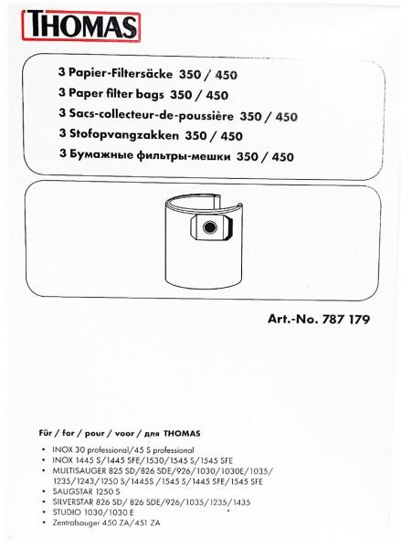 3 Stück - Thomas - Papierfiltersäcke 350 / 450