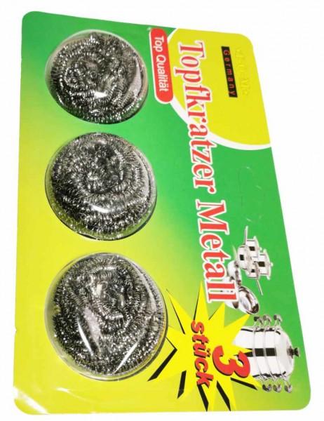 3 Topfkratzer, Grill- und Pfannenreiniger Spiralgewebe, formbar aus Edelstahl
