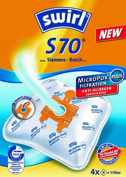 4 Microfaser Staubsaugerbeutel - Swirl - S 70